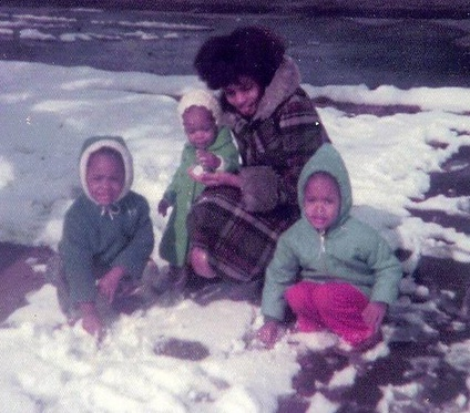 Mom with the Three of Us