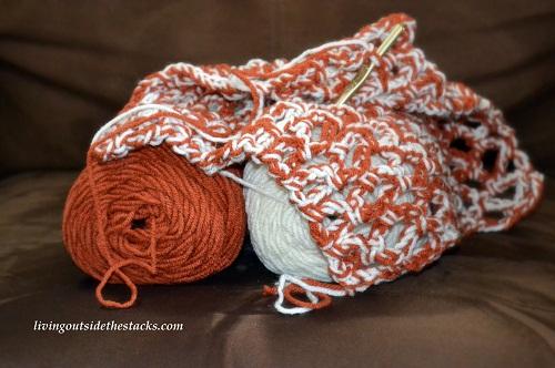 Yarn Along: Iced Pumpkin Scarf