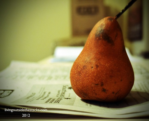 Pear and Newspaper