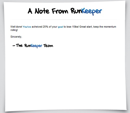 Note from Runkeeper