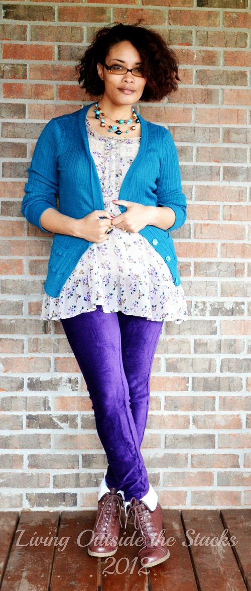 Teal Cardi, Greige Blouse, Aubergine No nonsense corduroy tights,  and Booties {Living Outside the Stacks}