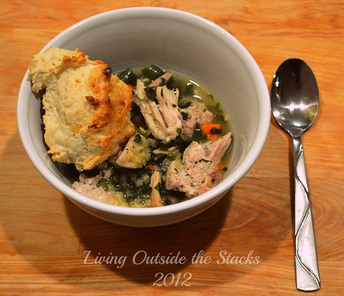 Chicken Noodle Soup and Cheddar Drop Biscuit Dinner {Living Outside the Stacks}