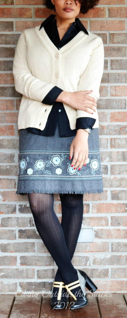 Cream Cardi, Black Button Down, Gray Skirt, No nonsense black tights, and Mary Janes  {Living Outside the Stacks}