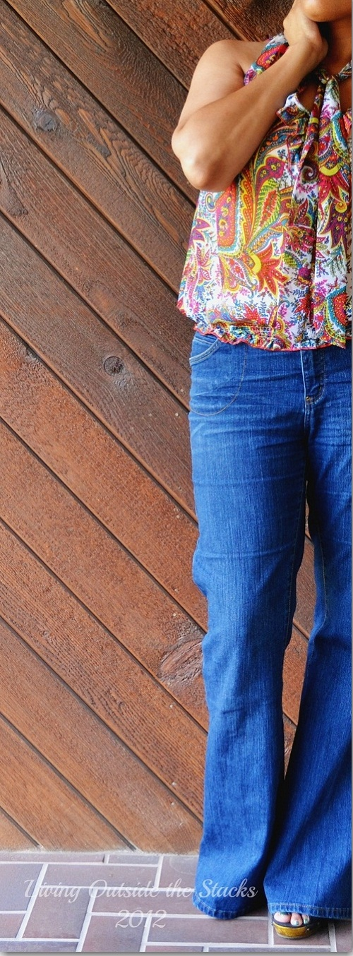 Print Blouse and Jeans {Living Outside the Stacks}