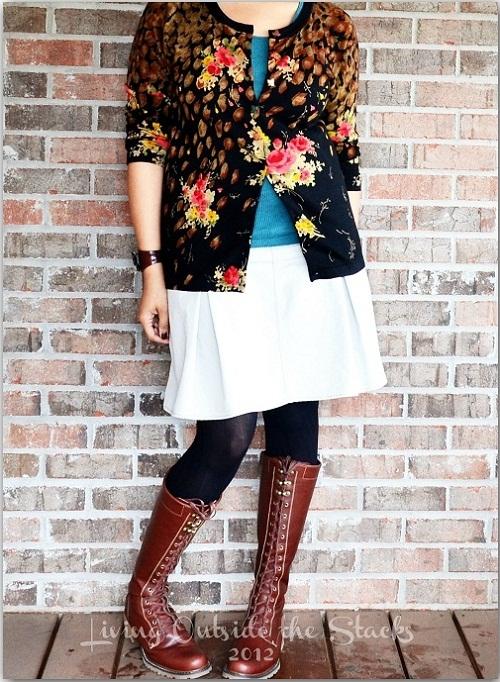Black Cardi, Tank, Khaki Skirt, Tights and Boots {Living Outside the Stacks}