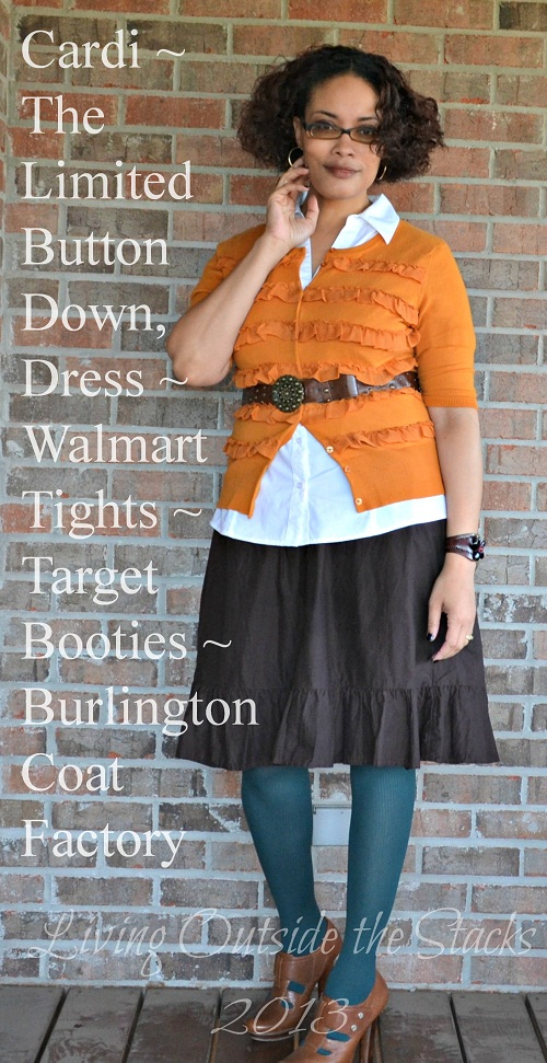 Orange Cardi, White Button Down, Brown Skirt, Teal Tights, and Brown Booties {Living Outside</a></p> <p>The one change I would make to this outfit is that I&#8217;d leave the bottom two buttons on the white button down undone. I tend to do that with my cardis, so I&#8217;m not sure why I didn&#8217;t do it with the blouse. Other than that, I really felt comfortable and enjoyed my Pinterpretation.</p> <p>I'm linking up with:</p> <ul> <li><strong><a title=