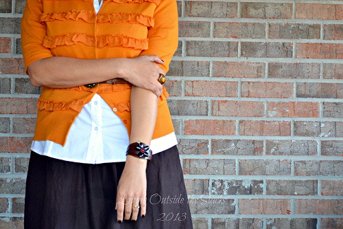 Orange Cardi, White Button Down, Brown Skirt, Teal Tights, and Brown Booties {Living Outside</a srcset=