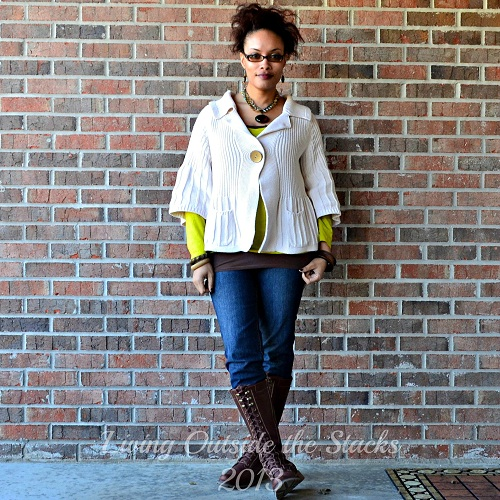 Cream Sweater, Citron Tee, Brown Cami, Jeans and Boots {Living Outside the Stacks}