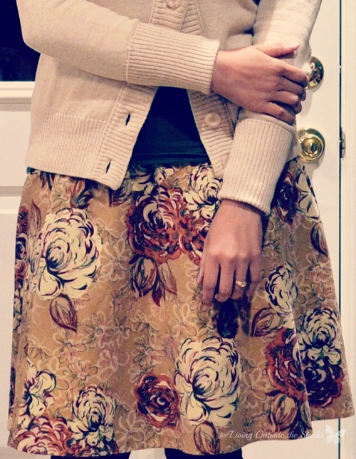 Cream Cardi, Green Tee and Brown Floral Skirt {Living Outside the Stacks}