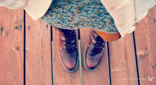 Brown Boots Mustard Tights and Blue Dress {Living Outside the Stacks}