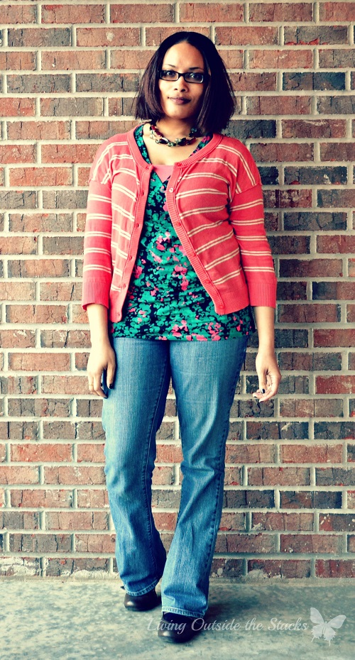 Salmon Cardi Floral Tee and Jeans {Living Outside the Stacks}