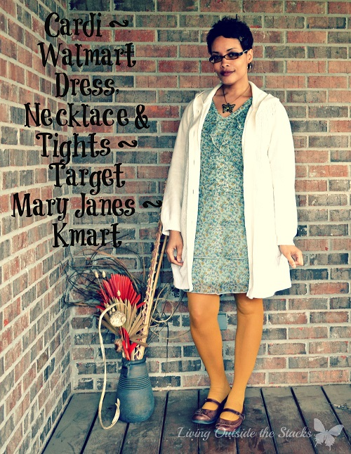 Cream Cardi Floral Dress Mustard Tights and Brown Mary Janes {Living Outside the Stacks}