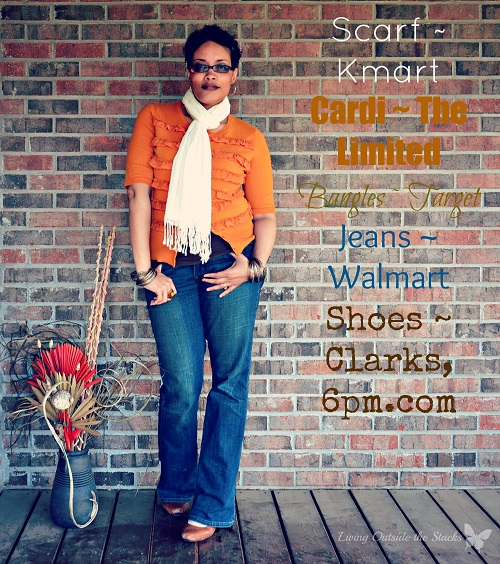 Orange Cardi Cream Scarf Brown Cami and Jeans {Living Outside the Stacks}