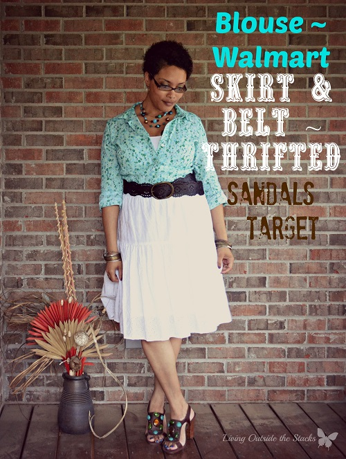 Turquoise Button Down White Eyelet Skirt and Sandals {Living Outside the Stacks}