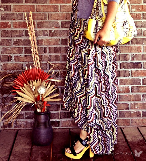 Gray Cardi and Print Maxi {Living Outside the Stacks}