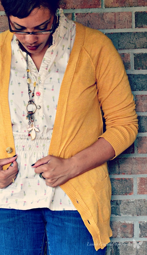 Mustard Cardi Floral Blouse and Flare Leg Jeans {Living Outside the Stacks}