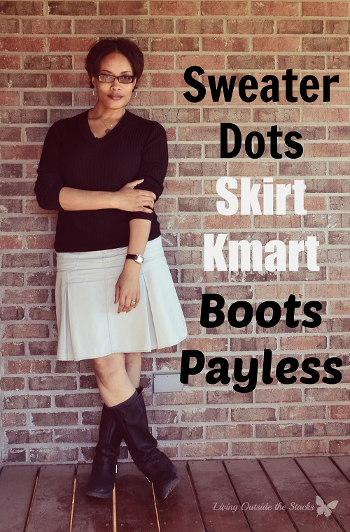 Black Sweater Khaki Skirt and Black Boots {Living Outside the Stacks}