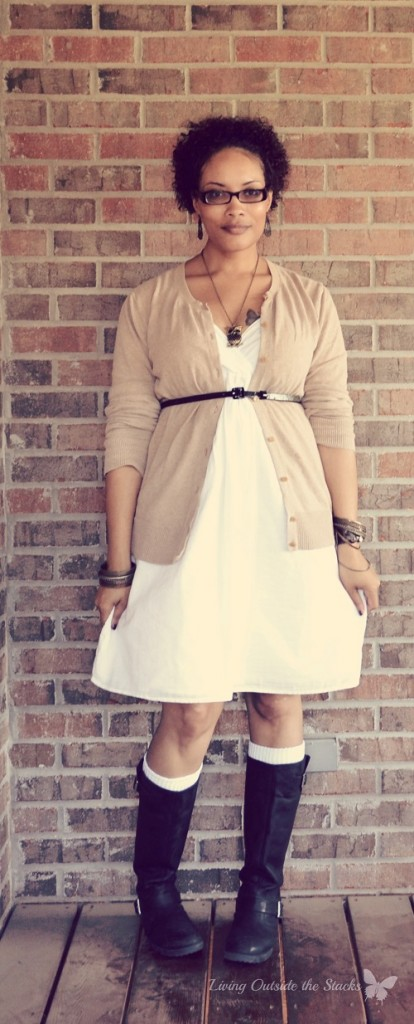 Beige Cardi White Dress and Black Boots {Living Outside the Stacks}