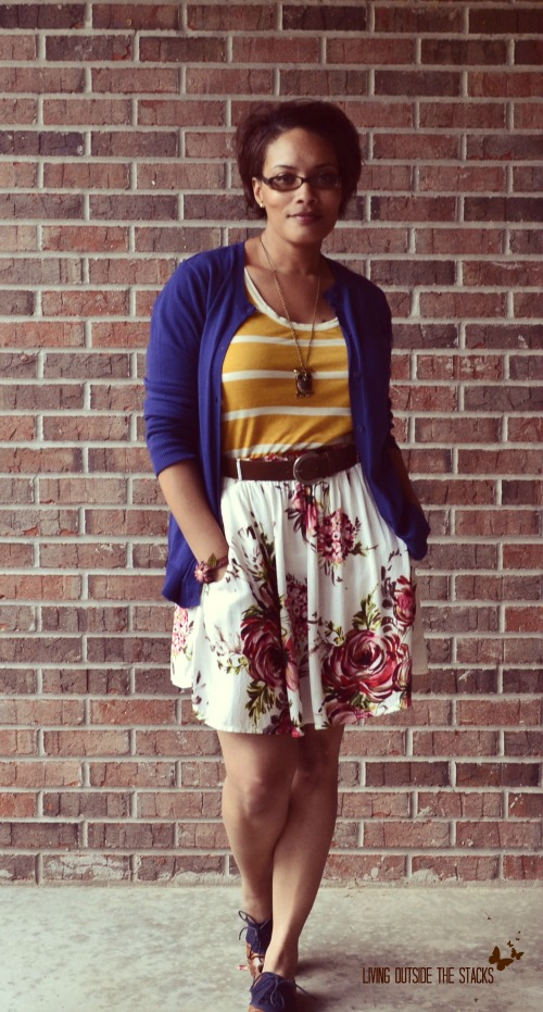 Blue Cardi, Mustard Striped Tee, Floral Skirt, and Oxfords {Living Outside the Stacks}
