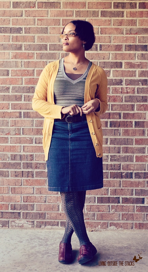Cardi, Striped Tee, Denim Skirt, and Tights {Living Outside the Stacks}