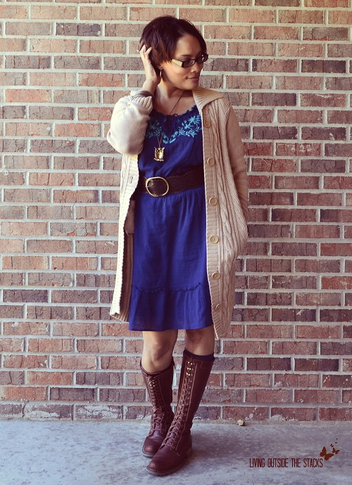 Tan Cardi Blue Dress and Brown Boots {Living Outside the Stacks}