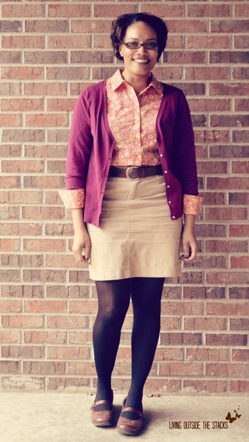 Magenta Cardi Floral Blouse Khaki Skirt Black Tights and Brown Shoes {Living Outside the Stacks}