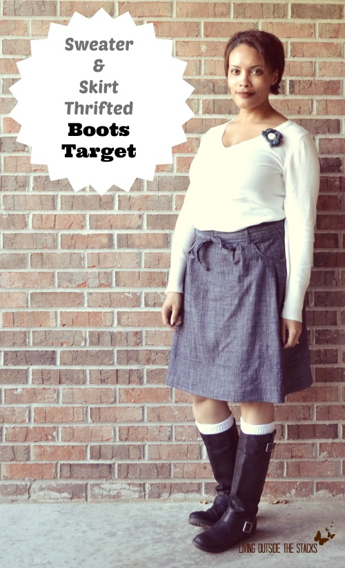 White Sweater Denim Skirt and Black Boots {Living Outside the Stacks}