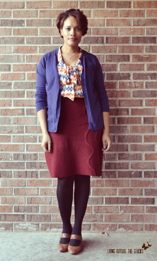 Blue Cardi, Ikat Blouse, Burgundy Skirt, Black Tights, and Brown Shoes {Living Outside the Stacks}