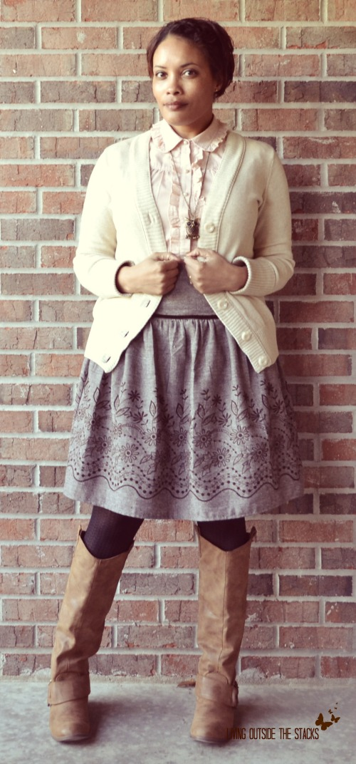 Cream Cardi Peach Blouse Brown Skirt and Brown Boots {Living Outside the Stacks}