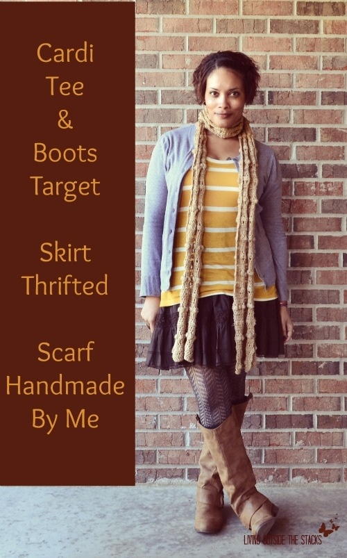 Gray Cardi, Mustard Striped Tee, Brown Skirt, and Brown Boots {Living Outside the Stacks}