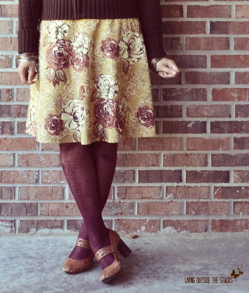 Brown Sweater, Floral Skirt, and Burgundy Tights {Living Outside the Stacks}