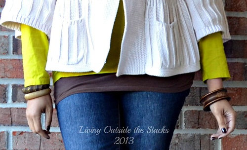 Cream Cardi Citron Tee Denim Leggings and Brown Boots {Living Outside the Stacks}