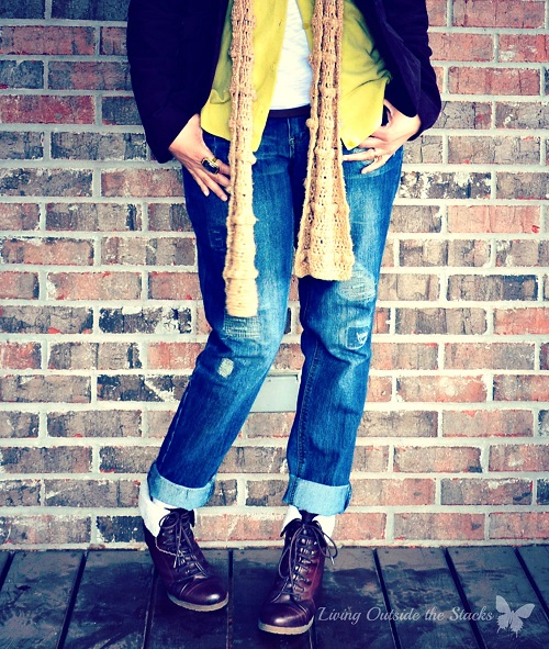 Brown Jacket Citron Sweater and Jeans {Living Outside the Stacks}
