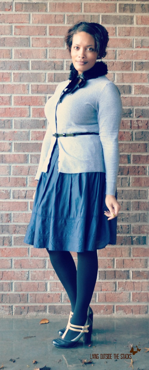 Faux Fur Collar Gray Cardi and Navy Skirt {Living Outside the Stacks}