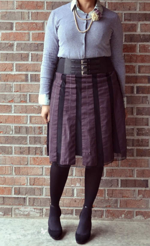Gray Cardi Black Belt Dark Purple Skirt and Black Shoes {Living Outside the Stacks}
