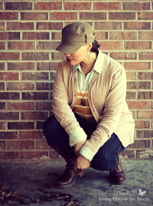 Tan Cardigan Mustard Striped Tee Denim Shirt Skinny Jeans and Boots {Living Outside the Stacks}