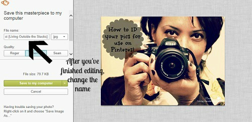 How to ID your pics for use on Pinterest {Living Outside the Stacks}