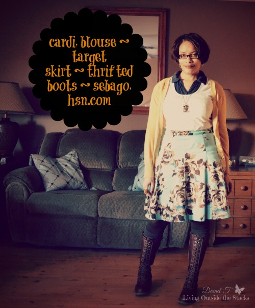 Mustard Cardi Teal and Brown Floral Skirt with Brown Boots {Living Outside the Stacks}