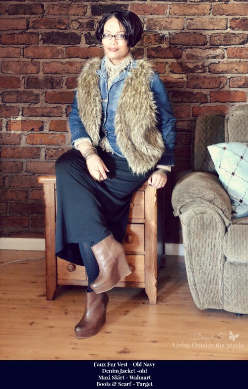 Faux Fur Vest Denim Jacket Scarf Black Maxi Skirt and Boots {Living Outside the Stacks}