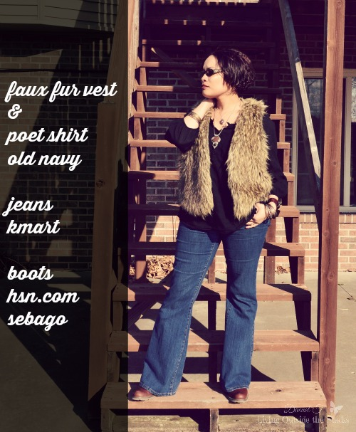 Faux Fur Black Poet Shirt Jeans and Boots {Living Outside the Stacks}