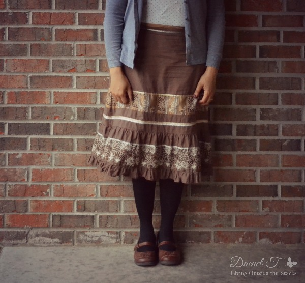 Gray Cardi, Cream Shirt, Brown Skirt, Black Tights, and Brown Shoes {Living Outside the Stacks}