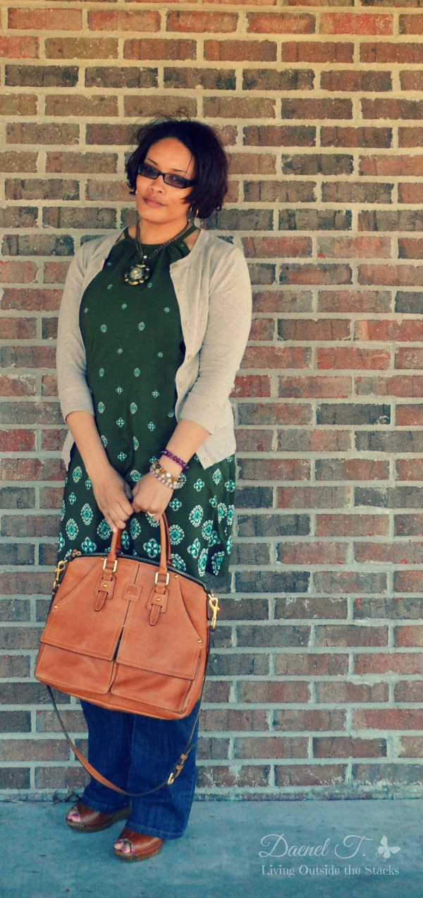 Dress Over Jeans with Wedges {Living Outside the Stacks}