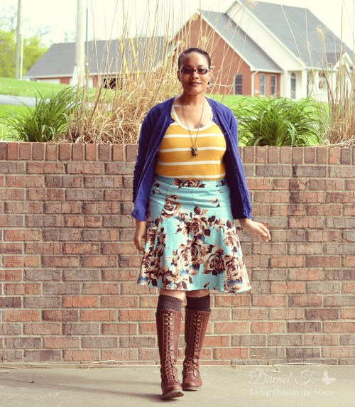 Blue Cardi Mustard Striped Tee and Floral Skirt {Living Outside the Stacks}