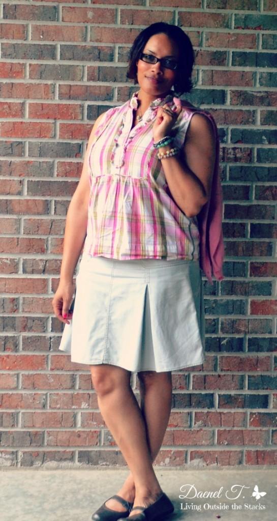 Pink Cardi Pink Gingham Blouse Khaki Skirt {Living Outside the Stacks}