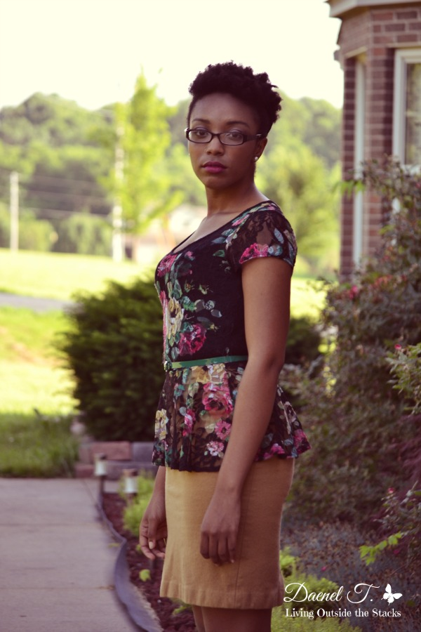 Floral Peplum Top Camel Pencil Skirt and Black Pumps {Living Outside the Stacks}