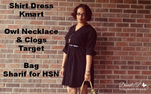 Black Shirt Dress Brown Sharif Bag and Black Clogs {Living Outside the Stacks}