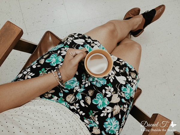 Cream Polka Dot Shirt, Floral Skirt, and Oxfords {Living Outside the Stacks}