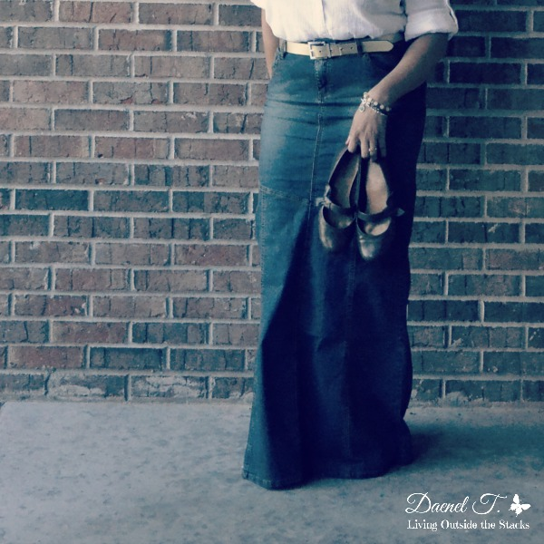 White Button Down Denim Maxi Skirt and Flats {Living Outside the Stacks}