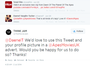 #DawnoftheApes Tweet