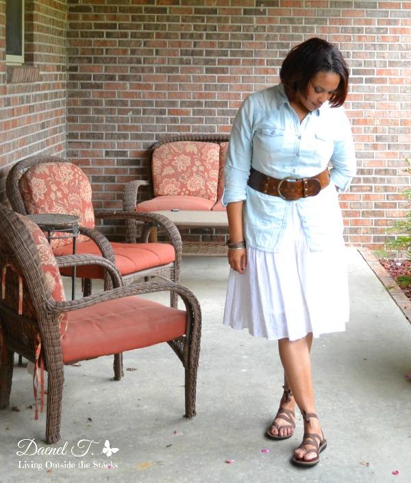 Denim Shirt White Eyelet Skirt and Sseko Sandals {Living Outside the Stacks}